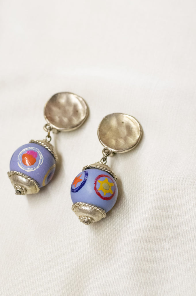 Vintage Earrings - Hand Painted