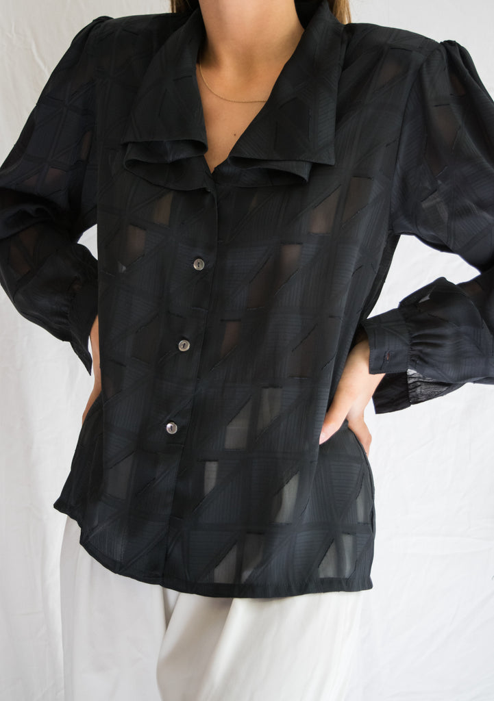70s Black Shirt with Pattern, Ruffled Collar and Shoulder Pads
