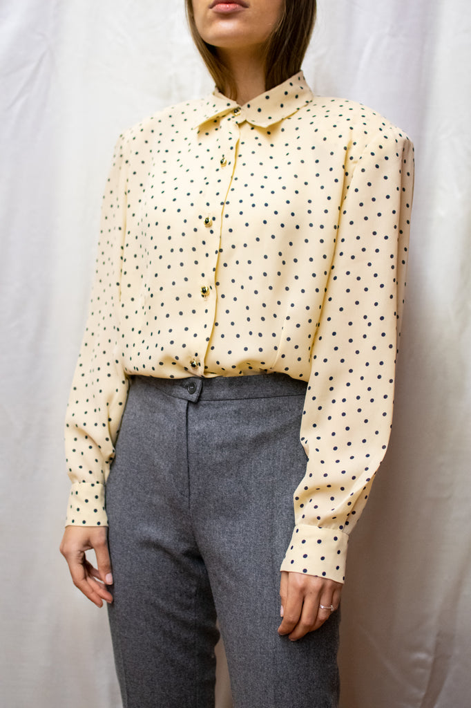 Vintage Creme Blouse With Polka Dots - Golden Buttons