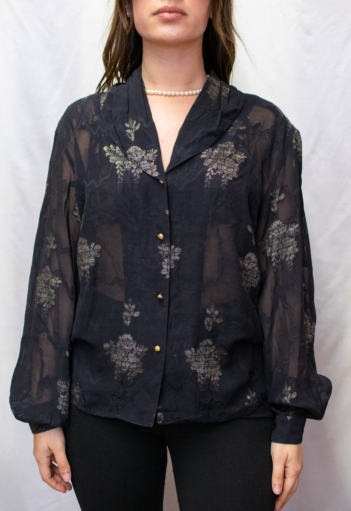 Beautiful Burberry Black Blouse - with golden details