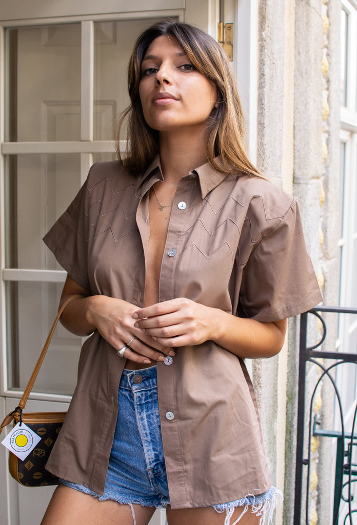 Vintage Short Sleeve Blouse in Brown - With Shoulder Pads