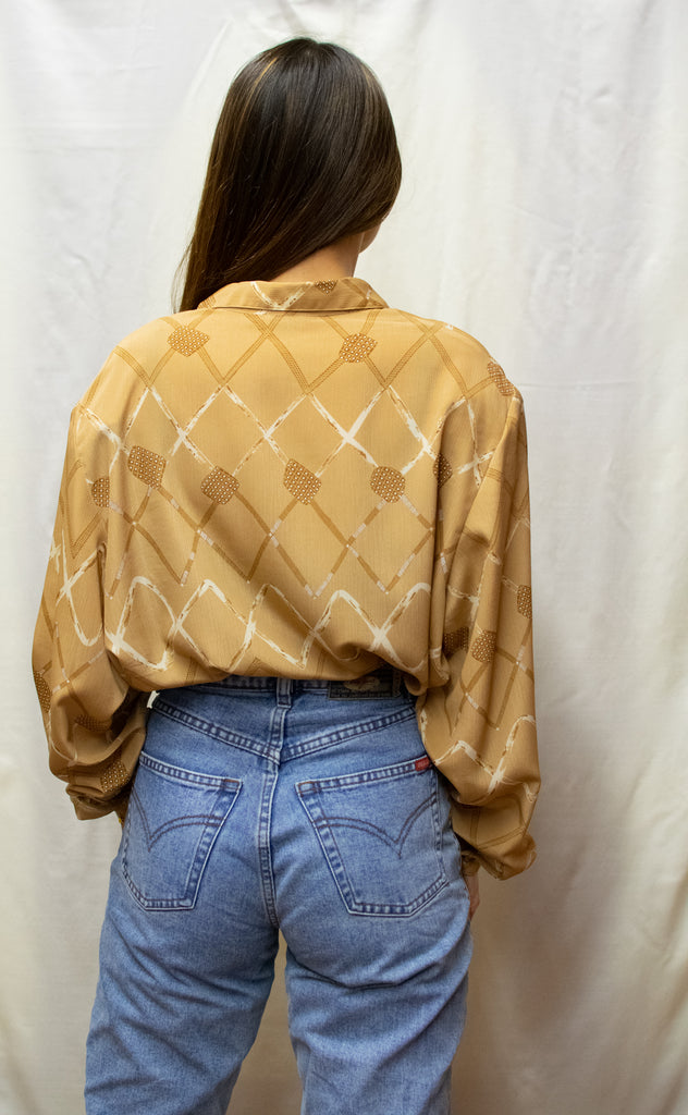 Vintage Abstract Creme Blouse