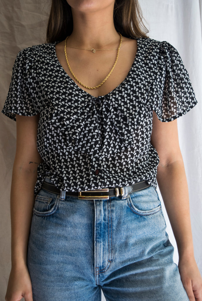 Black and White Vintage Blouse with Geometric Pattern
