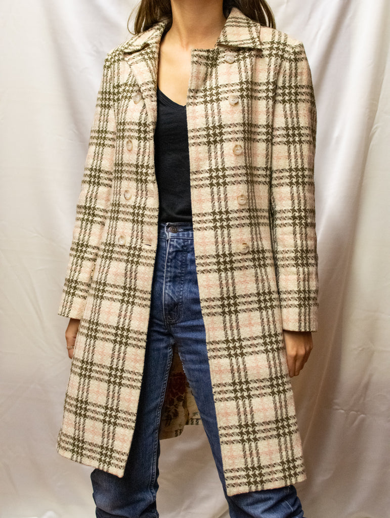 Burberry Plaid Overcoat - in beige and pink