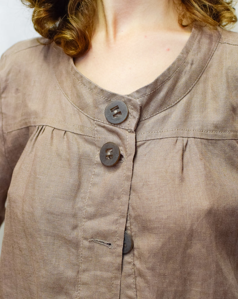 Vintage Brown 100% Linen Blouse - with wood buttons