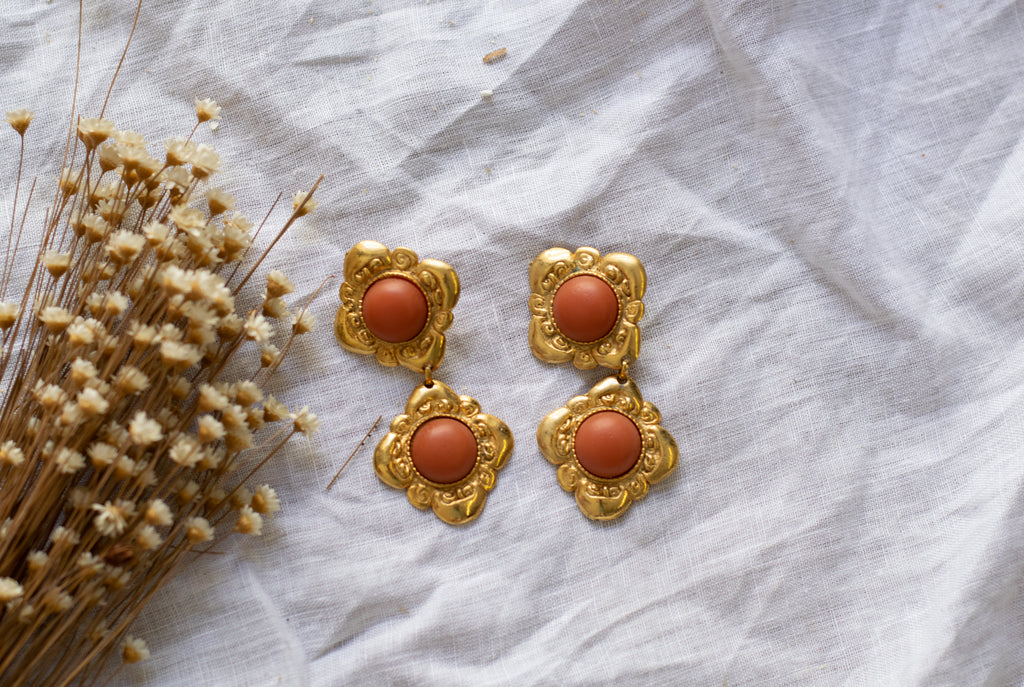 Vintage Drop Earrings in Golden and Orange