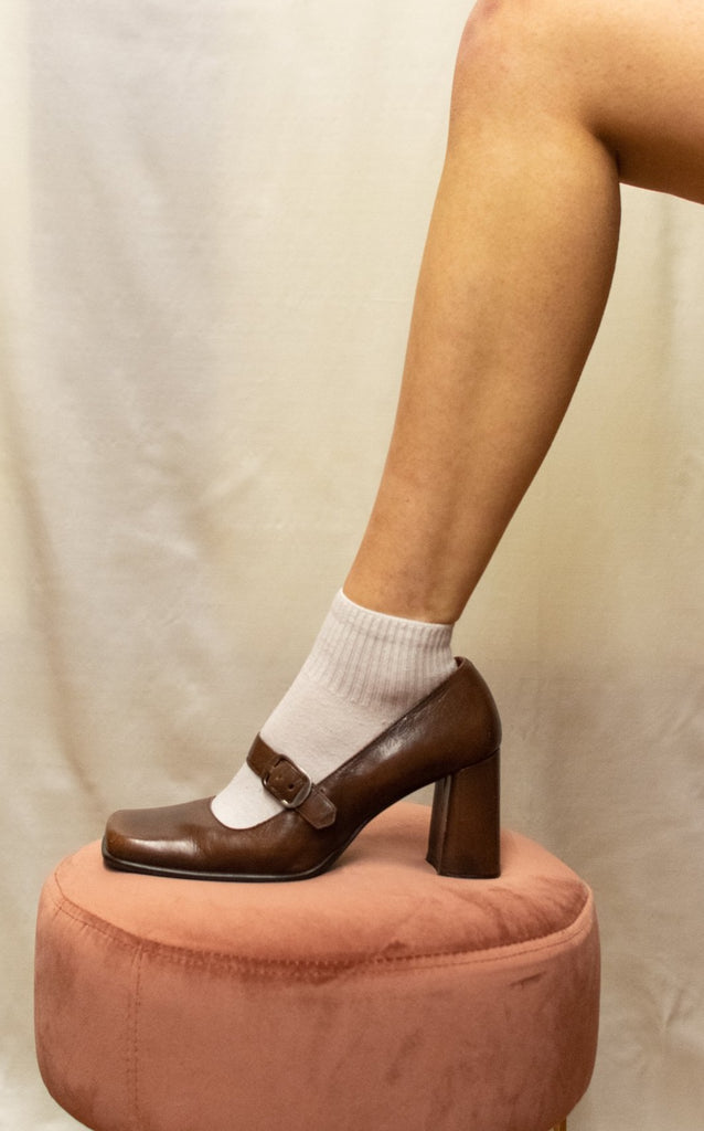 Vintage Mary Jane Heels Square Toe - 100% Leather