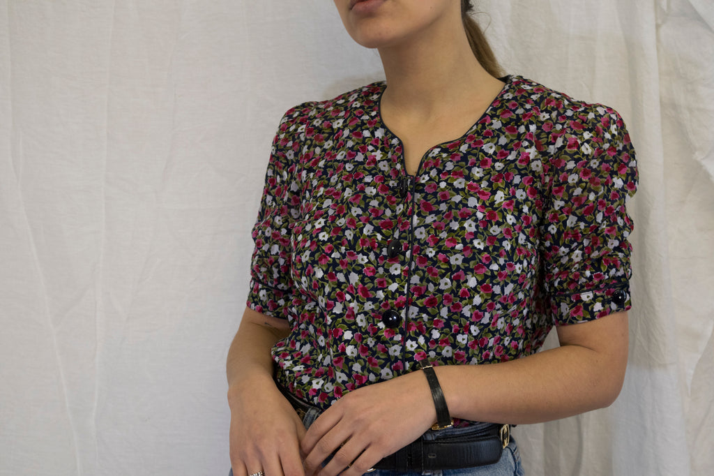 Vintage Floral Blouse with Buttons