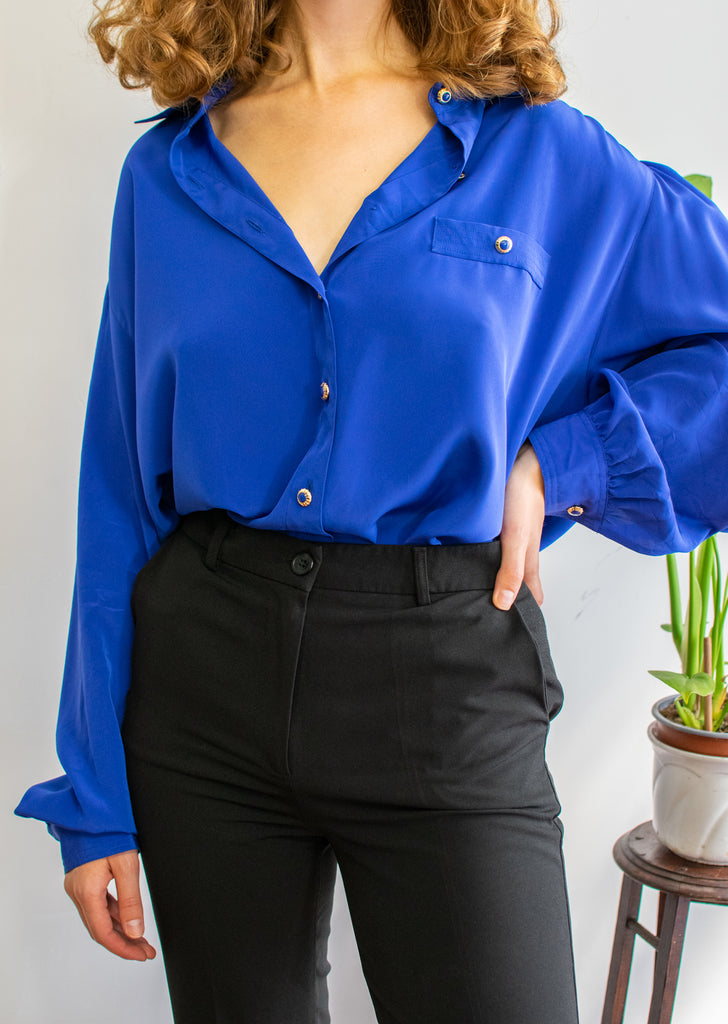 Blue Vintage Blouse with Golden Buttons