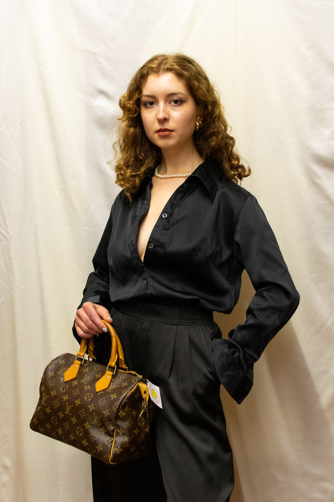 Vintage Black Silk-touch Blouse