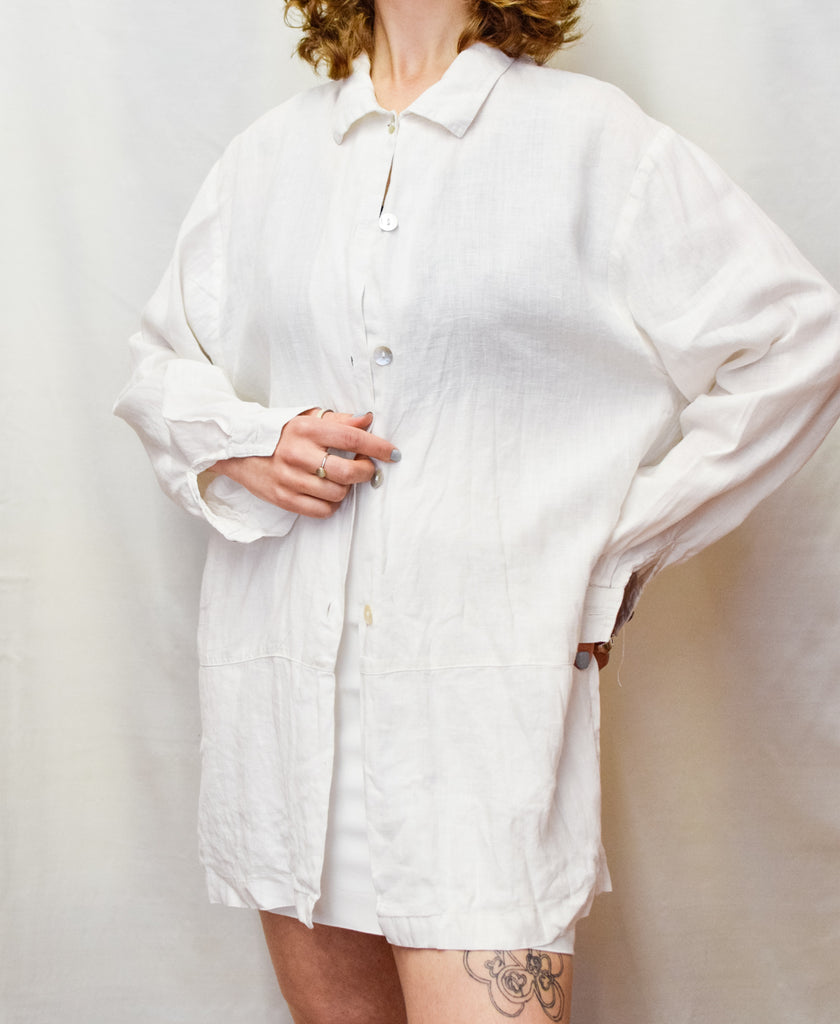 White Linen Vintage Sleeved Shirt