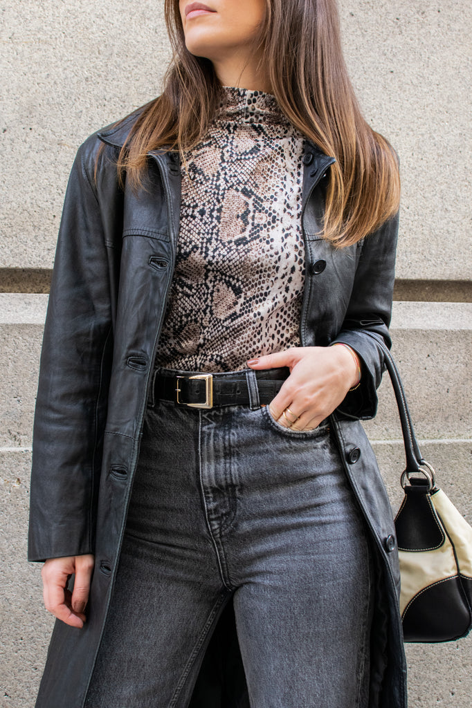Velvet top with turtleneck - animal pattern