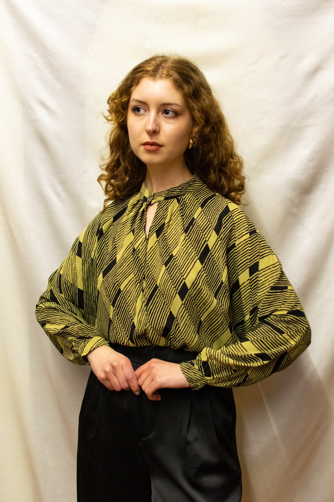 Vintage Geometric Blouse - Green and Black