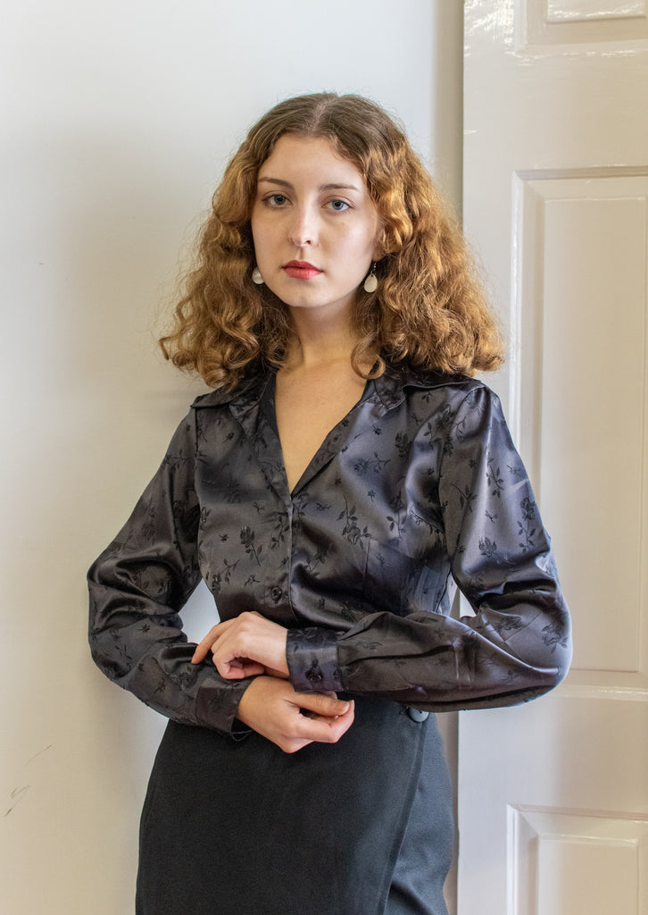 70's blouse - black satin - with flowers