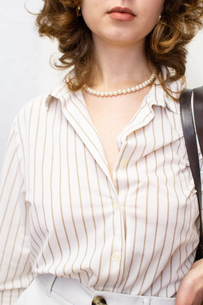 Vintage White Stripped Blouse