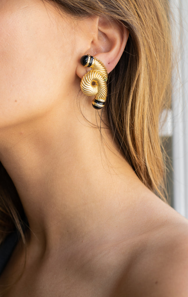 Vintage Golden And Black Abstract Earrings - So Unique!