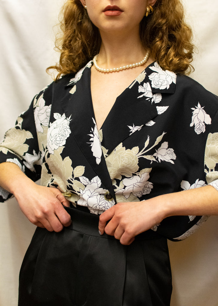 Vintage Black Blouse with White Flowers - with golden buttons