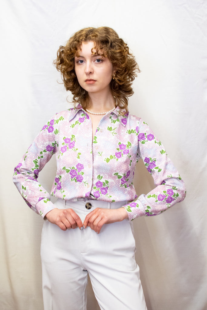 Vintage Blouse with Purple Flowers - so 70's!
