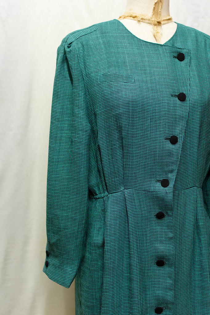 Vintage Checkered Turquoise Dress - with Black Buttons