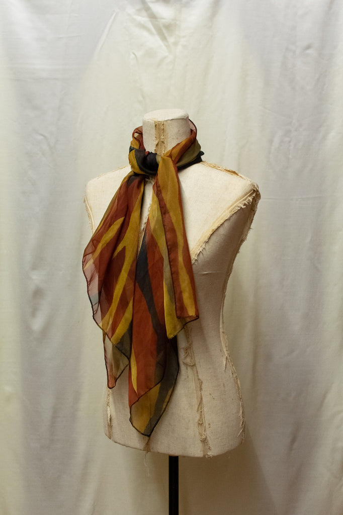 Thin Brown and Yellow Vintage Scarf