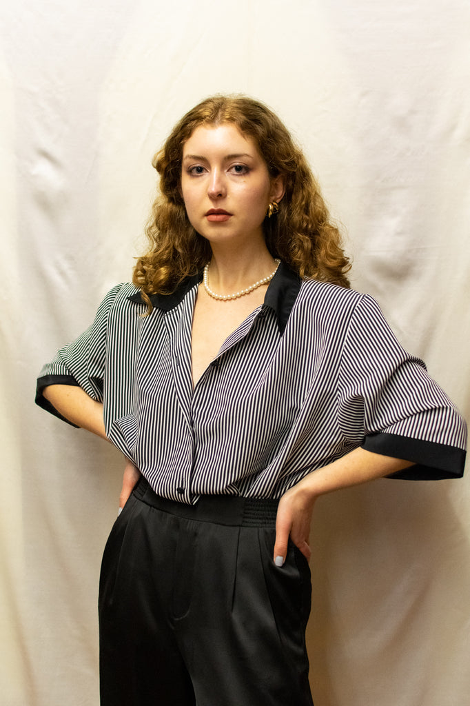 Vintage Black and White Stripped Blouse - so 70's!