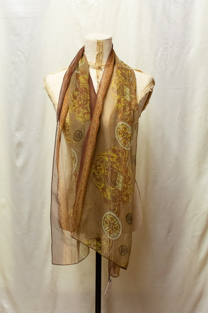 Brown Vintage Scarf - with floral details
