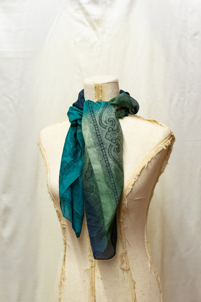 Blue and Green Small Scarf - very vintage!