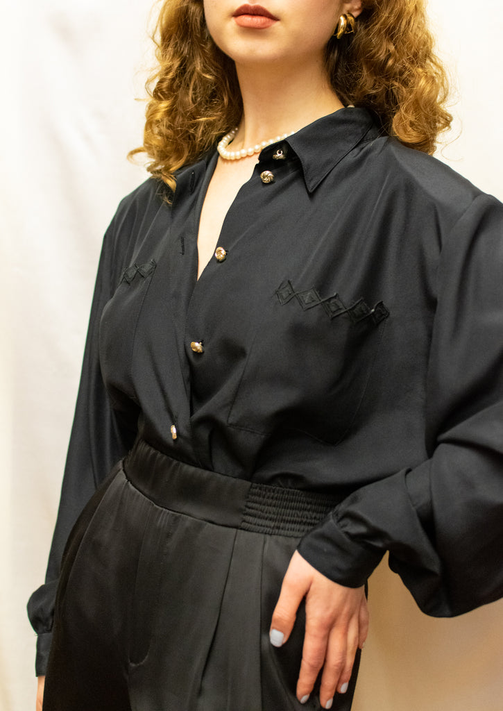 Vintage Black Blouse - with golden buttons