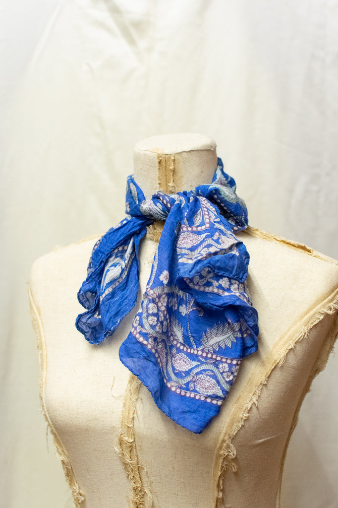 Vintage Small Blue Scarf