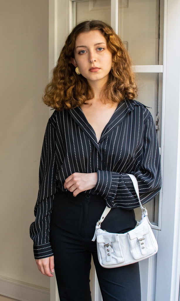Classic Black and White Blouse - Very elegant