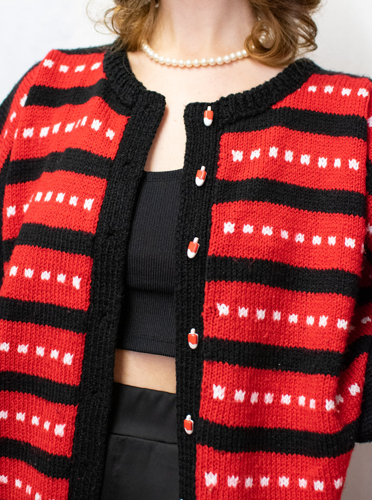 Red and Black Vintage Cardigan - with ice cream as buttons