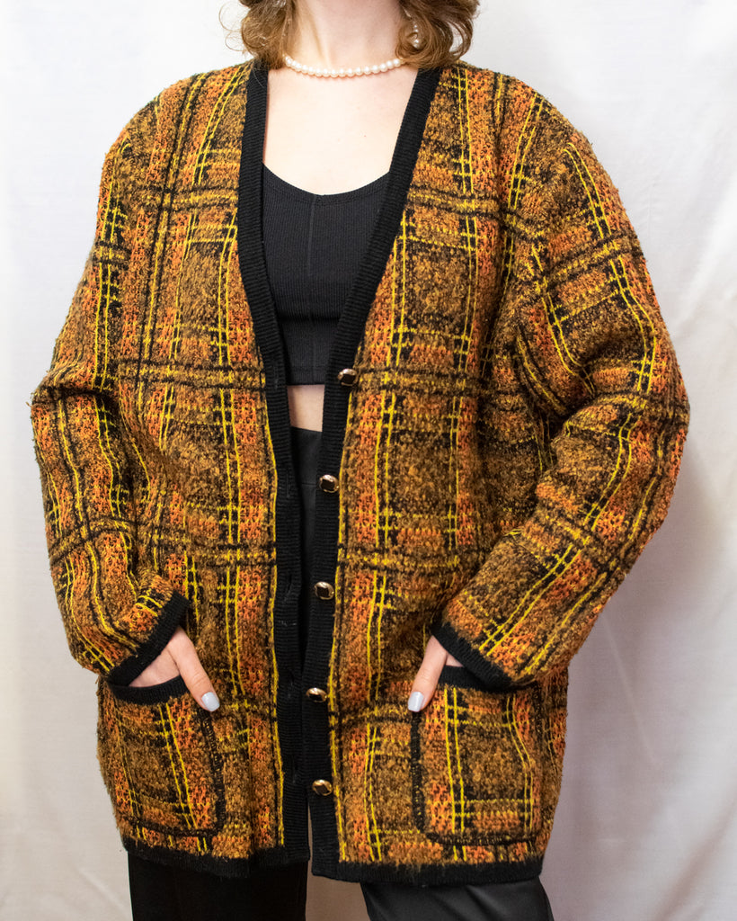 Vintage Wool Oversized Cardigan - golden buttons