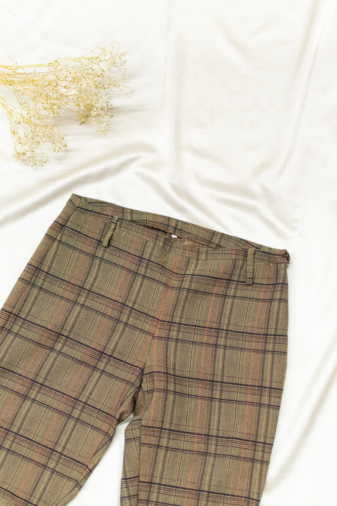 Vintage High Waisted Checkered Trousers - in brown and beige