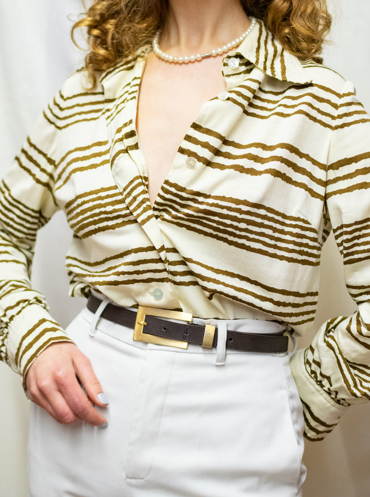 Vintage 70s beige blouse with brown stripes - cotton