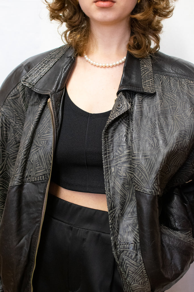 Vintage Leather Bomber Jacket - so cool!