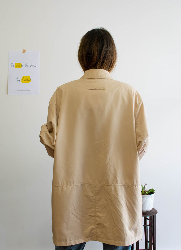 Beige Vintage Parka with Golden Buttons