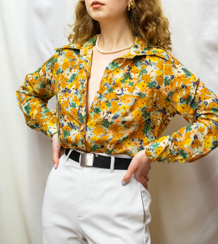 Vintage Blouse 70s - With flowers - So cute