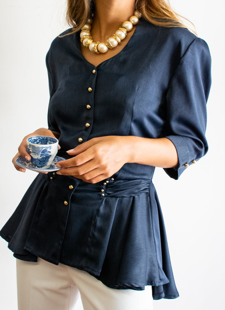 Vintage blouse - super elegant - in navy blue with gold buttons