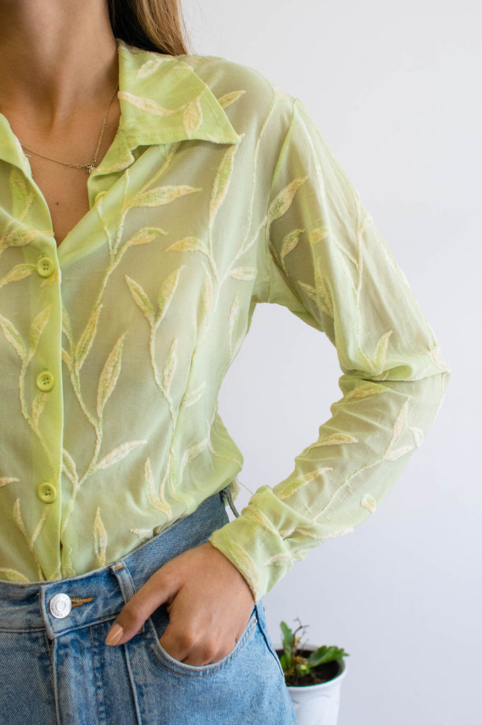 Green Vintage Blouse With Velvet
