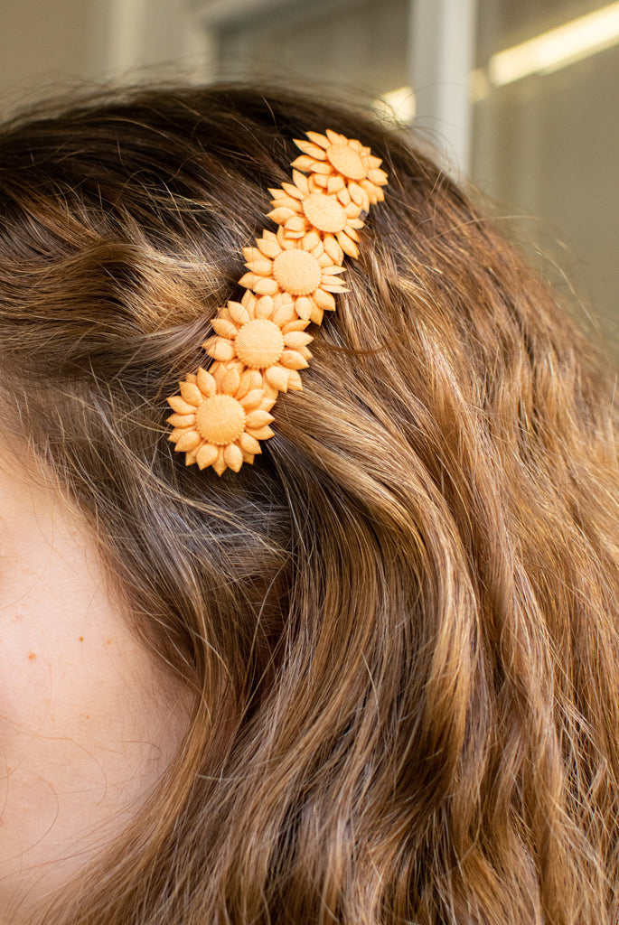 vintage orange hairclip with flowers