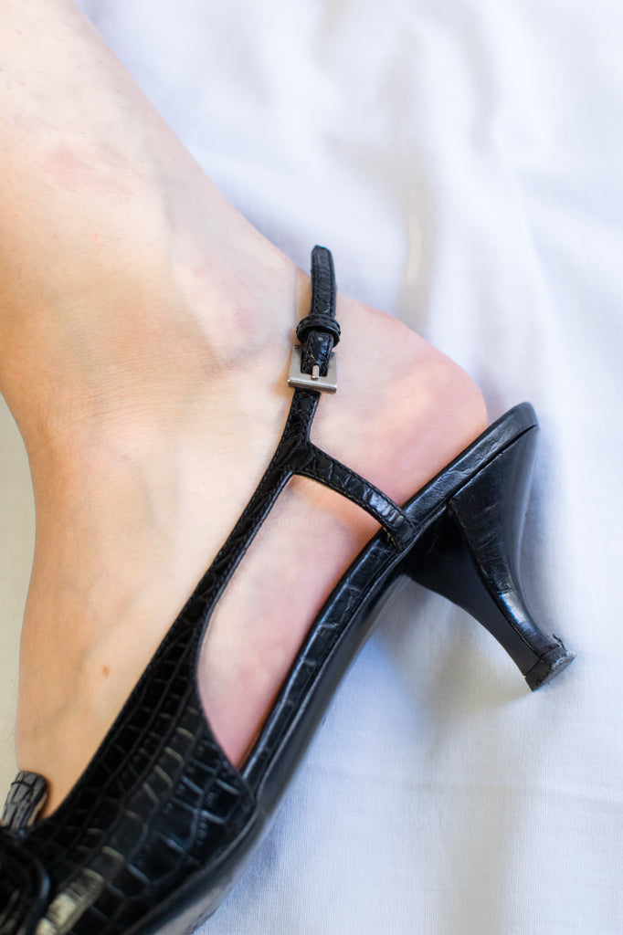 Prada Leather Heels - in black