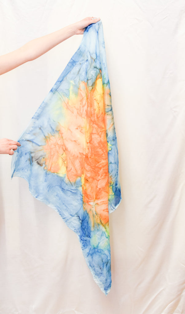 Watercolor Pattern Blue and Orange Vintage Scarf