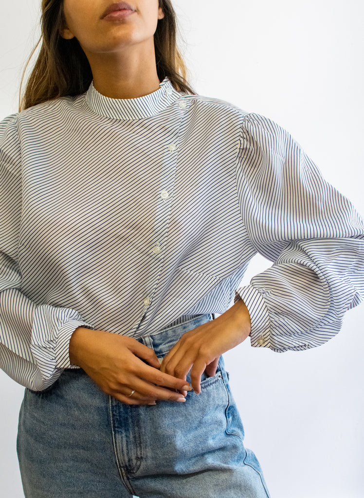 Vintage Striped Blouse - White and Navy