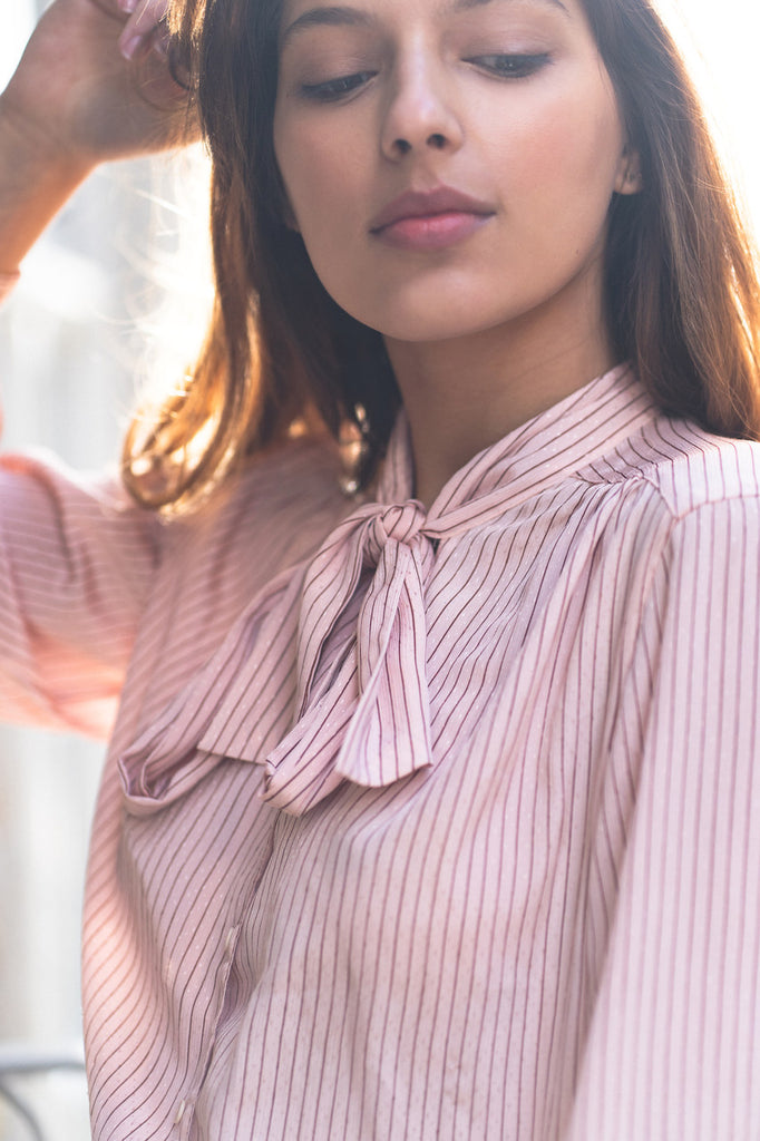 80s Vintage Pink Blouse with Bow Tie