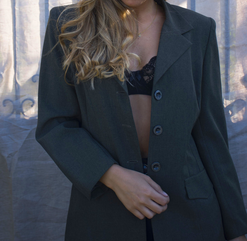 Vintage Blazer Jacket in Grey