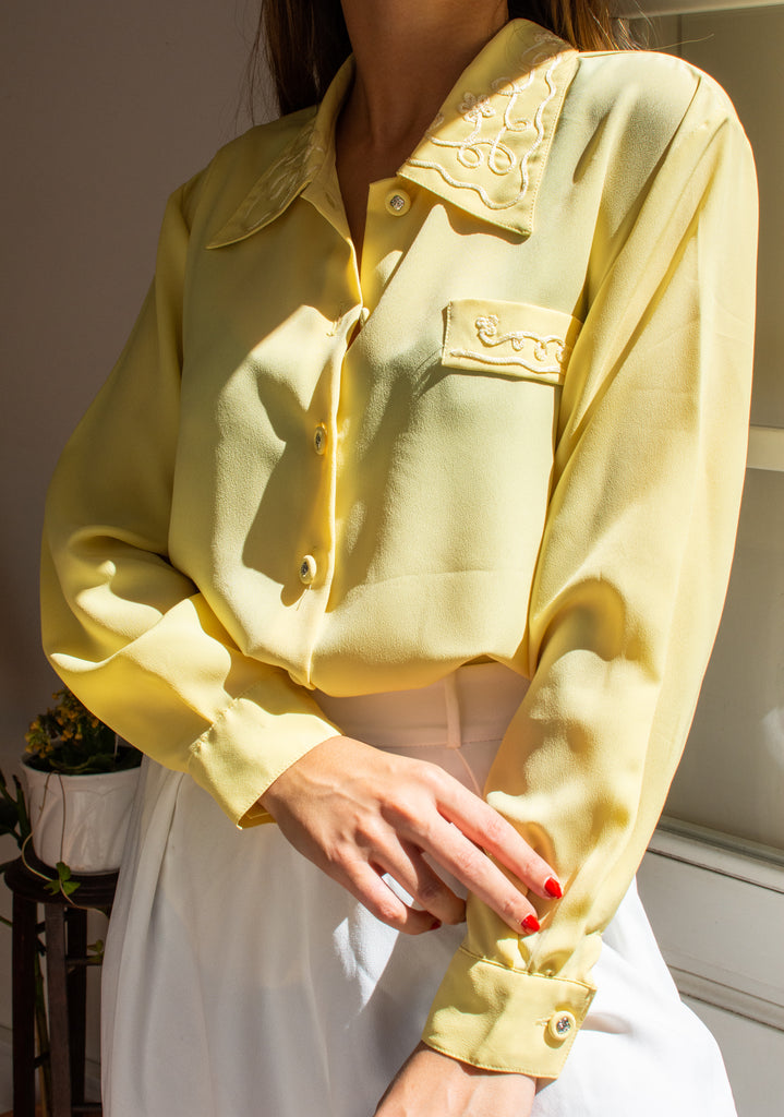 Yellow Vintage Shirt with Embroidered Collar and Pocket