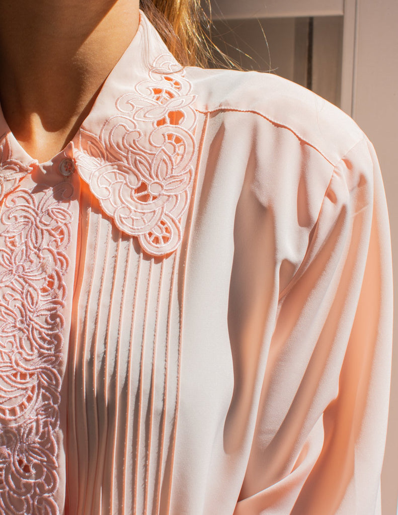Light Pink Vintage Blouse with Embroidery and Details