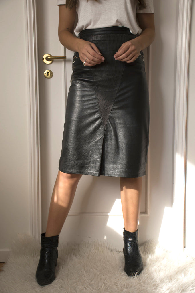 80s Leather Skirt in Black