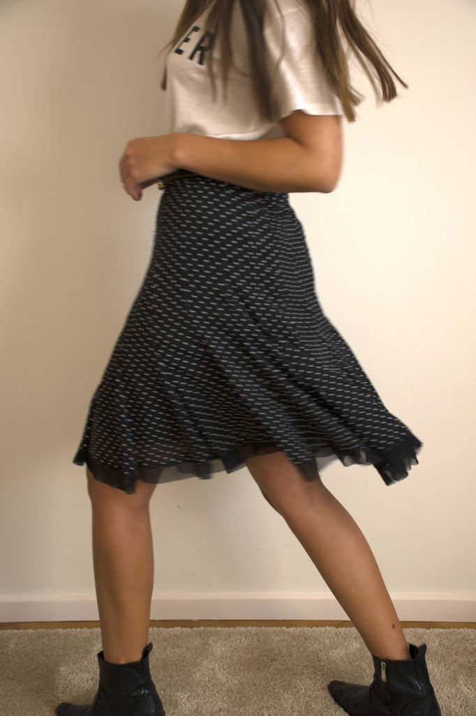 80S Medium Skirt With Spots in Black and White