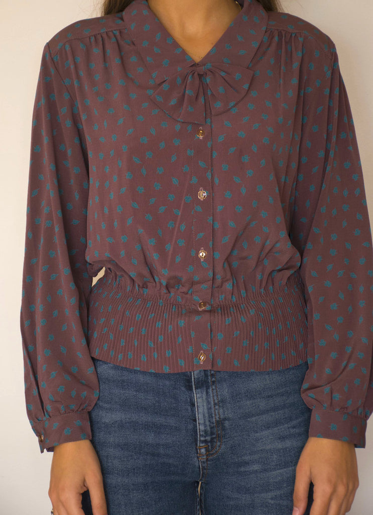Vintage 90's Floral Blouse in Bordeaux and Blue